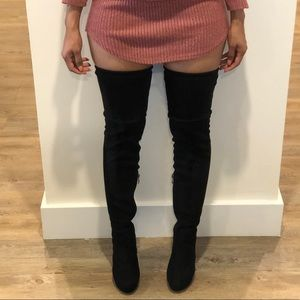 BLACK THIGH HIGH SUEDE BOOTS SIZE 6